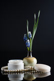 与花卉构成的化妆奶油 图库摄影