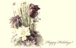 与花卉构成的葡萄酒明信片 库存照片