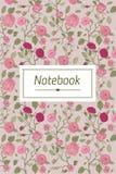 与花卉样式的抽象盖子设计 笔记本、习字簿、写生簿或者日志的书名页模板 免版税库存照片