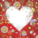 与花卉样式的框架和心脏乱画样式 免版税库存照片