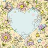 与花卉样式的框架和心脏乱画样式 免版税库存图片