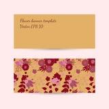 与花卉样式的横幅模板在marsala颜色 库存照片