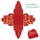 与花卉样式的红色礼物盒模板 免版税库存图片