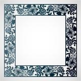 与花卉样式的透雕细工方形的框架 激光切口模板 图库摄影