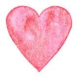 与花卉样式的水彩心脏 库存照片