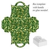 与花卉样式的绿色礼物盒模板 免版税库存图片