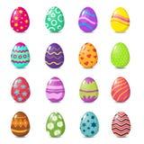 与花卉样式被隔绝的传染媒介集合的动画片五颜六色的复活节彩蛋 免版税库存照片
