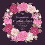 与花卉框架的葡萄酒看板卡 库存照片