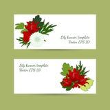 与花卉百合构成的横幅模板在明亮的颜色 免版税库存照片