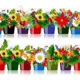 与花卉罐的无缝的样式您的设计的 库存照片