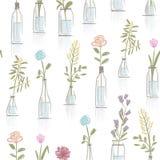 与花卉罐的无缝的样式设计 库存图片
