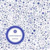 与花卉背景蓝色和白色的抽象无缝的样式 向量例证