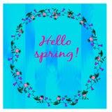 与花卉花圈的春天卡片 免版税库存照片