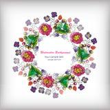 与花卉花圈的美丽的贺卡 库存例证