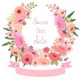 与花卉花圈的葡萄酒卡片。保存日期。 库存照片