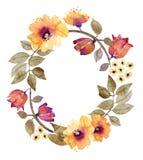 与花卉花圈的水彩背景 库存照片