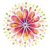与花卉花圈的水彩背景 免版税库存图片