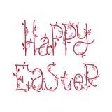 与花卉装饰字体,行情的愉快的复活节贺卡 库存图片