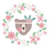 与花卉装饰漂泊样式的熊北美灰熊 向量例证