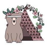 与花卉装饰漂泊样式的熊北美灰熊 皇族释放例证