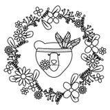 与花卉装饰漂泊样式的熊北美灰熊 库存例证