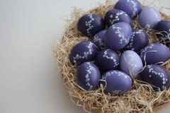 与花卉装饰的复活节彩蛋 库存照片