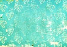 与花卉装饰的纸纹理 库存照片