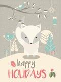 与花卉装饰的逗人喜爱的北极圣诞节小狐狸 库存例证