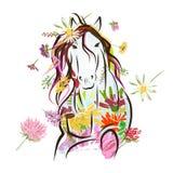 与花卉装饰的马剪影的您 免版税库存照片