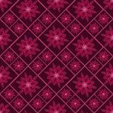 与花卉设计的红色和黑无缝的规则样式 免版税库存图片
