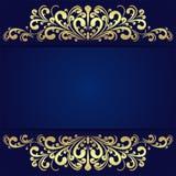 与花卉金黄边界的典雅的蓝色背景 免版税库存图片