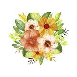 与花和分支的水彩花束 向量例证