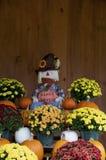 与花和南瓜的愉快的收获 免版税库存照片