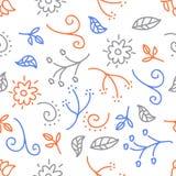 与花和叶子乱画的无缝的样式在白色背景,五颜六色的传染媒介,画的à ¹  库存照片