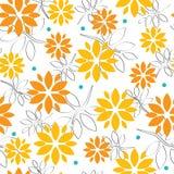 与花和叶子的无缝的样式在夏天颜色 向量例证
