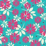 与花和叶子的无缝的样式在大胆,夏天颜色 皇族释放例证