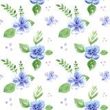 与花和叶子的无缝的样式 库存例证