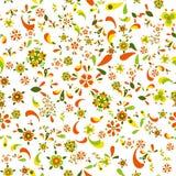 与花和叶子的无缝的花卉样式 免版税库存照片