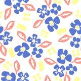 与花和叶子的样式在斯堪的纳维亚样式 库存例证