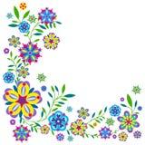 与花和叶子的植物样式 库存照片