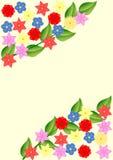 与花和叶子的背景在角落 库存图片