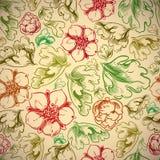 与花和叶子的葡萄酒样式无缝的背景 免版税图库摄影