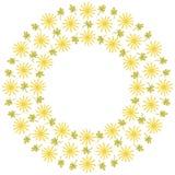 与花和叶子的逗人喜爱的背景圈子边界框架 免版税库存照片