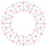 与花和叶子的逗人喜爱的背景圈子边界框架 库存例证