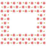 与花和叶子的逗人喜爱的背景边界框架 免版税库存图片