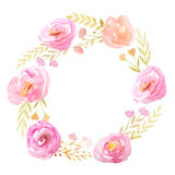 与花和叶子的水彩框架 库存照片