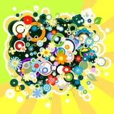 与花和圈子的五颜六色的背景 免版税库存图片