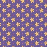与花和小点的紫外无缝的样式 免版税图库摄影
