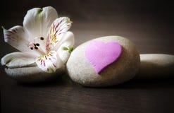 与花和心脏在木背景,温泉的三块白色石头 库存图片