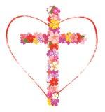 与花和心脏的十字架 库存照片